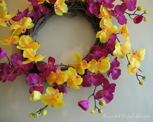 Spring Orchid Wreath/Fuchsia/Yellow Orchid/Spring Wreath Belleville Belleville Area image 2