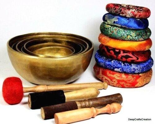 """4-9"""" Chakra Set of 7- Handmade Singing Bowls- Tibetan healing singing bowl seven"""