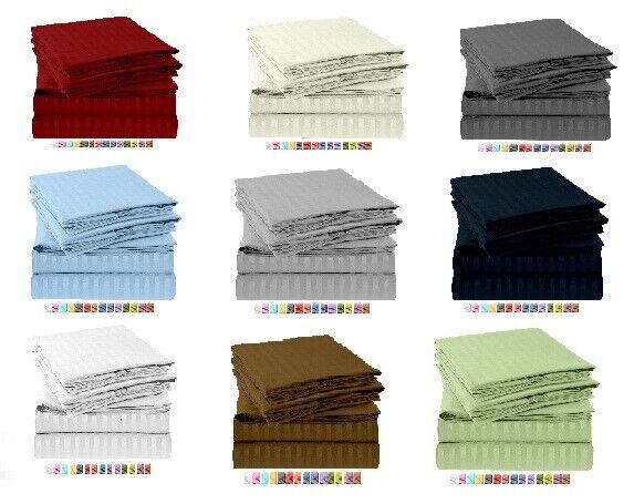 "100/% Cotton Stripe Navy Blue Sheet Set 800 Tc Queen//King All Size Drop 10/""-30/"""