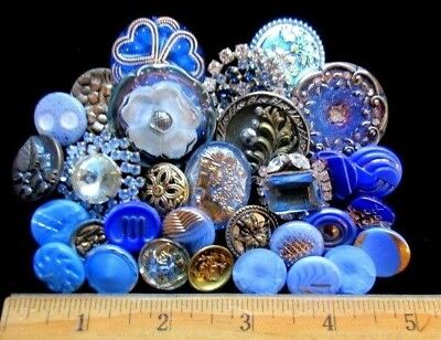 BUTTONS Victorian Mix of VINTAGE & NEW Glass & Metal & Rhinestone Shades of Blue
