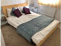 IKEA bed and silent night mattress.Scandanavian light wood stylish DBL bed with or without mattress