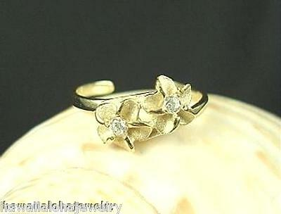 6mm Hawaiian 14k Gold 2 Plumeria Flowers CZ Toe Ring