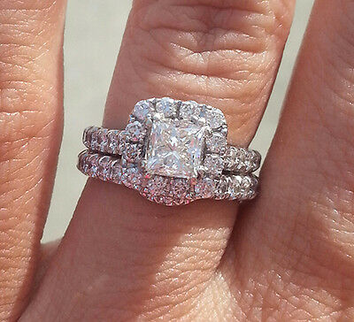 2.00 Ct. Natural Princess Cut Halo Pave Diamond Engagement Bridal Set GIA Cer