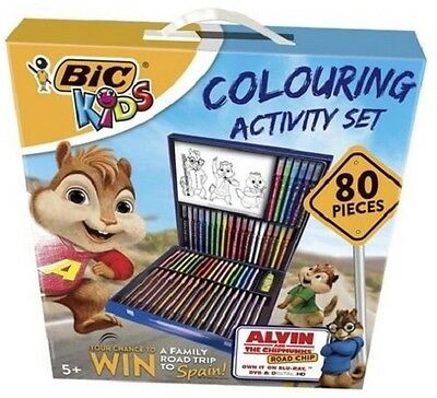 NEW Bic Kids Colouring Activity Stationary Set 80 Pieces Pencils Crayons Pens