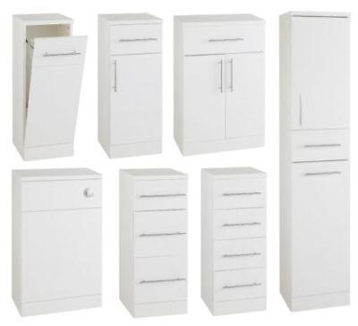 Gloss White Bathroom Cupboard Cabinet Drawer Base Unit Storage Tall Furniture IM