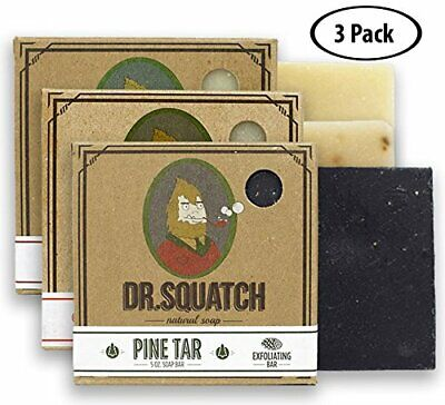 Dr. Squatch Men's Soap Sampler Pack (3 Bars) - Pine Tar, Cedar Citrus, Bay Rum (Best Pine Tar Soap)