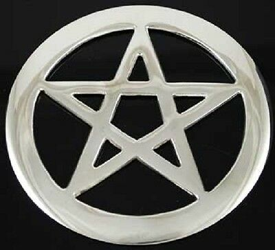 LARGE Silver Plated Pentacle Altar Tile (ONE) Wiccan Pagan Altar Supply RPEN4 Silver Pentacle Altar Tile