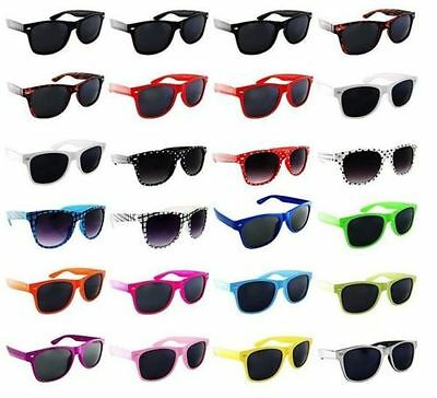 24 Pack PAIR LOT Sunglasses Retro Wholesale Dark Lens Nerd Party Favor Glasses