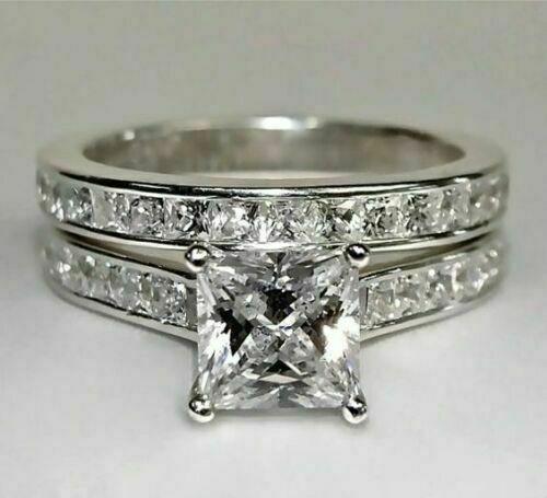 14k White Gold Over Princess Diamond Cut Engagement Wedding Band Bridal Ring Set