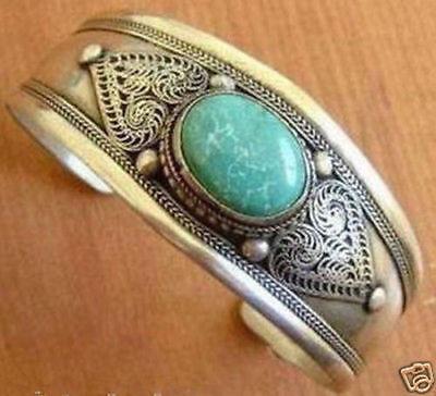 Turquoise Silver Mens Bracelets - Unusual tibet silver turquoise men's cuff bracelet