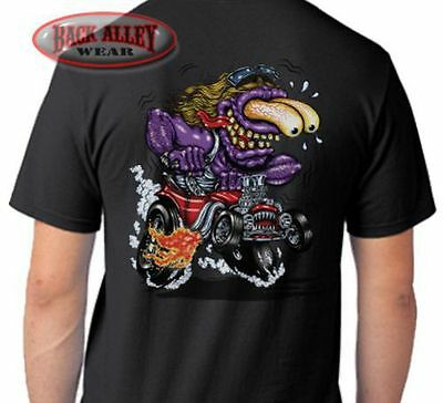 PURPLE MONSTER T-SHIRT ~ Car Guy Tee ~ Cartoon HOT Rat Rod Muscle Car Flames