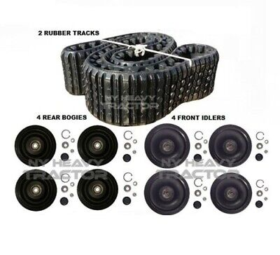 Two Rubber Tracks 4 Bogie 4 Idler Wheel Kit Fits Cat Asv Rc60 Duroforce