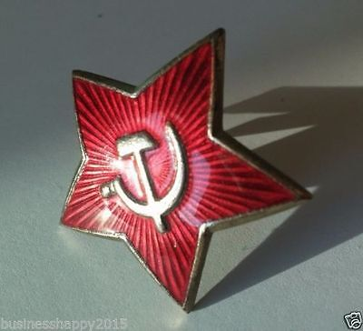 Original Soviet USSR Army Red Star Hat Badge Enamel Metal Pin Badge