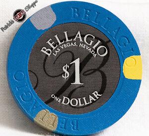 $1 ONE DOLLAR POKER GAMING CHIP BELLAGIO HOTEL CASINO LAS VEGAS NEVADA