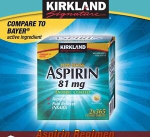 Kirkland Low Dose Aspirin 81mg Enteric Coated Pain Reliever 730 Tablets