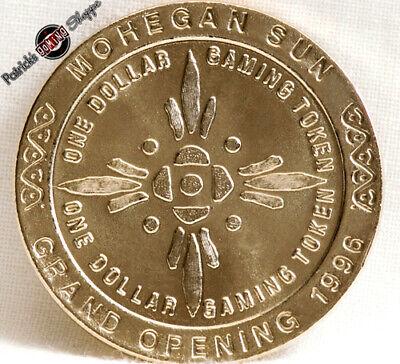 $1 BRASS SLOT TOKEN COIN MOHEGAN SUN CASINO 1996 GDC MINT UNCASVILLE CONNECTICUT