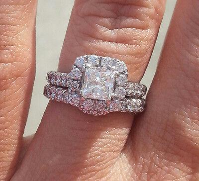 3.00 Ct. Natural Princess Cut Halo Pave Diamond Engagement Bridal Set GIA Cert
