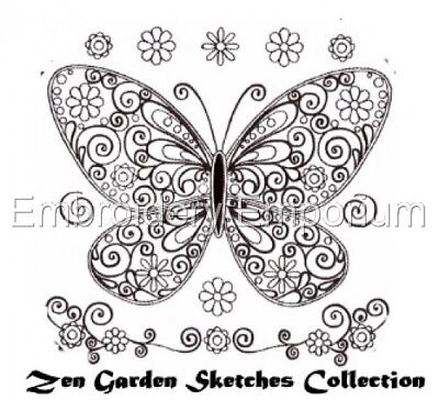 (ZEN GARDEN SKETCHES COLLECTION - MACHINE EMBROIDERY DESIGNS ON CD OR USB)