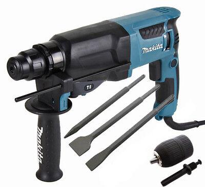 Makita HR2630 SDS+ 3 Mode Hammer Drill + Point + Chisels + Keyless Chuck 240V