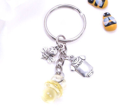 Sweet As Can Bee Bumble Bee Baby Shower Key Ring Keychain Thank you Favor Unisex