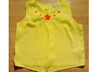 Ladies Yellow Sleeveless Beaded Semi Sheer Top from Cameo Rose.Size 12.