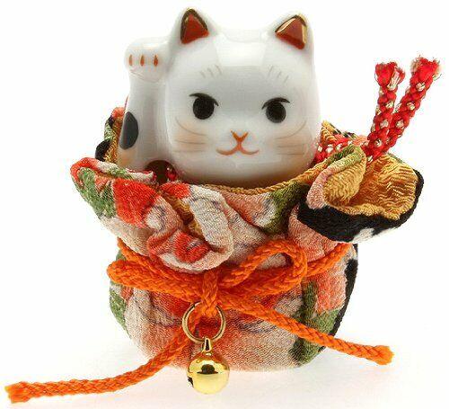 Japanese Porcelain Maneki Neko Lucky Cat with Kimono Pouch Figure Made in Japan