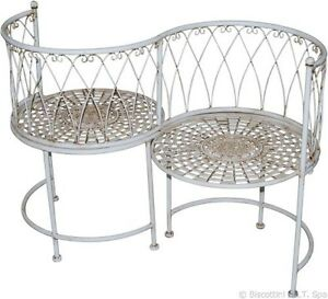 Panchina divanetto per interni esterni in ferro battuto for Tavolini in ferro battuto per esterni
