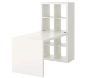 Ikea white expedit office desk, shelf & chair