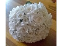 cream and pale peach silk rose bridal bouquet