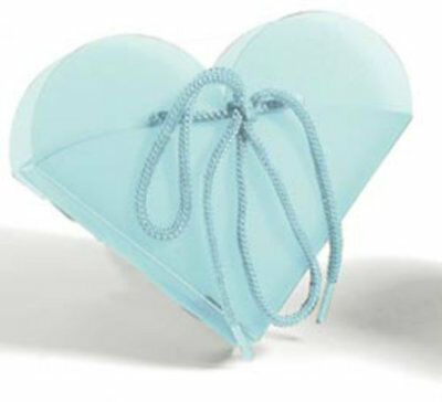 Blue Frosted Heart Take Out Boxes (10)-  Wedding Baby Shower Party Favor