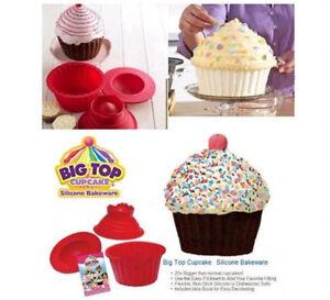 3pcs Giant Big Silicone Cupcake Cake Mould Top Cupcake Bake Set Baking Mold UJ