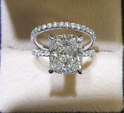 Conflict Free 1.70 Ct Cushion Cut Diamond Pave Engagement Ring GIA G,VS2 14K WG 5