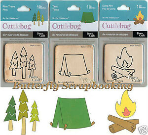Cuttlebug THREE 2x2 dies (Tent, Pine Trees & Camp Fire) - $8