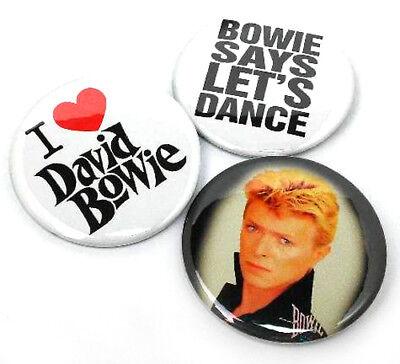 "3 BOWIE - BIG 2.25"" Buttons Pinbacks Pins Badges I LOVE DAVID Lets Dance Ziggy"