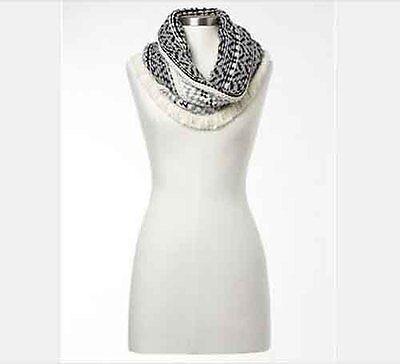 GAP Fair isle Wool infinity Scarf women's knit White Ivory Gray Black NWT $40