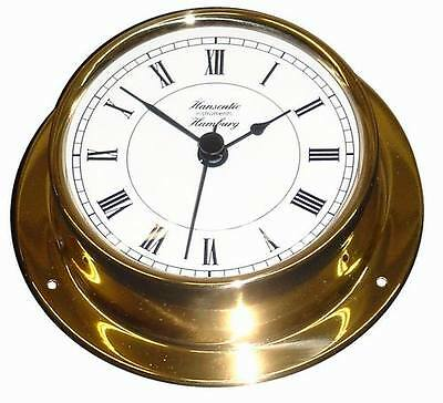 Schiffsuhr Quarz (Batterie) 110 mm Messing leicht Uhr Schiffs-Instrument