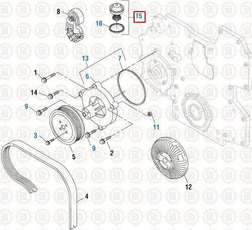 Thermostat Kit 190° for International DT466E DT530E. PAI