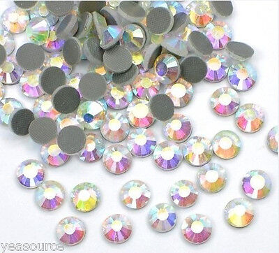 1440pcs SS10 HotFix Iron-on Rhinestones Flatback Beads Seed Crystal Clear AB 3mm ()