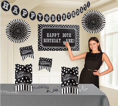 Black And White Striped Party Supplies (BLACK and WHITE birthday party ROOM DECORATING KIT 8pcs 120 stickers)