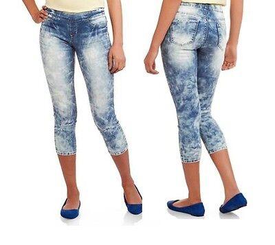 "L.e.i. Juniors 21"" Luxe Pull-On Super Soft Crop Capri Med Acid Wash Pants Size 7"
