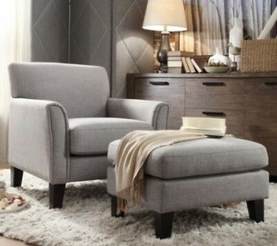 Gray Furniture Accent Chair and/or Ottoman Set Grey Living Room Fabric Chairs Living Room Accent Ottoman