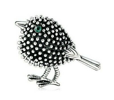 Robin Bird Brooch Vintage Style Silver Plated Green Dainty Pin Gift Unusual HQ