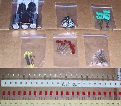 1095 Pcs Lot - Capacitors - Resistors - Led - Radio Parts Component Assortment