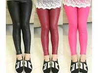 Leather Look Girls Leggings