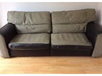3 seat black Italian leather sofa