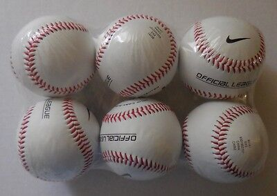 NIKE Baseball Official League Solid Cork Rubber Center Balls Set of 6 New