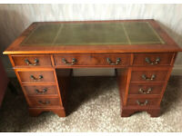 Leather topped vintage pedestal desk - amazing condition for age