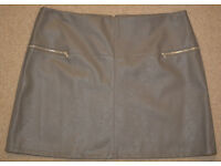 BNWT Womens Ladies sexy grey Faux Leather Mini Skirt size 20 NEW from ATMOSPHERE