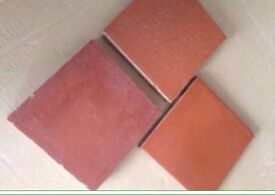 Lots of (250+) 15cm square orange and red quarry tiles sold as job lot of individual