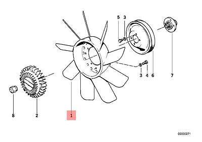 Genuine BMW E12 E21 E23 E3 Radiator Cooling Fan 9 Blade 420mm OEM 11521273086